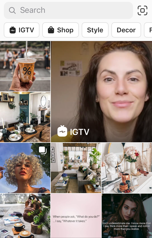 Instagram explore page featuring the IGTV button and IGTV content