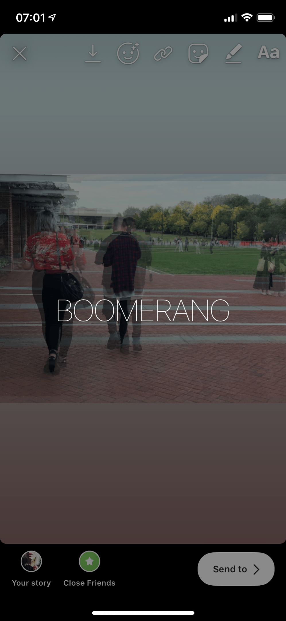 Press and hold the image for approximately 2 seconds until 'BOOMERANG' appears on the screen.
