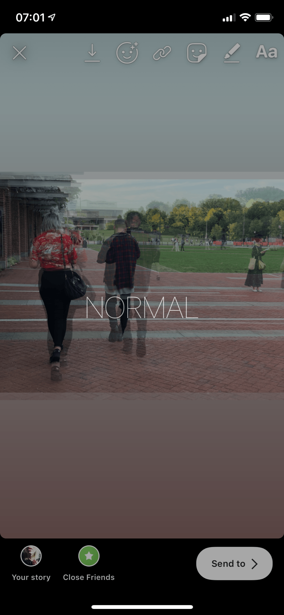 To return the Boomerang to a normal photo, simply press and hold the image for approximately 2 seconds until 'NORMAL' appears on the screen.