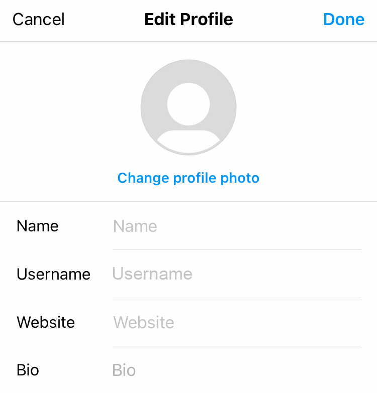 Edit Name and Username in the profile settings on Instagram