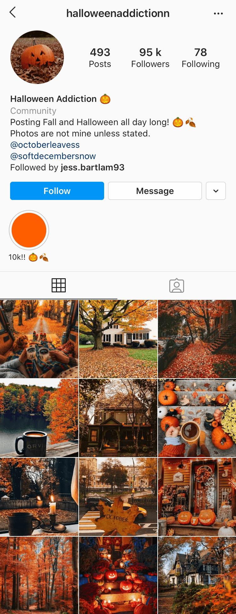 Instagram account @halloweenaddictionn
