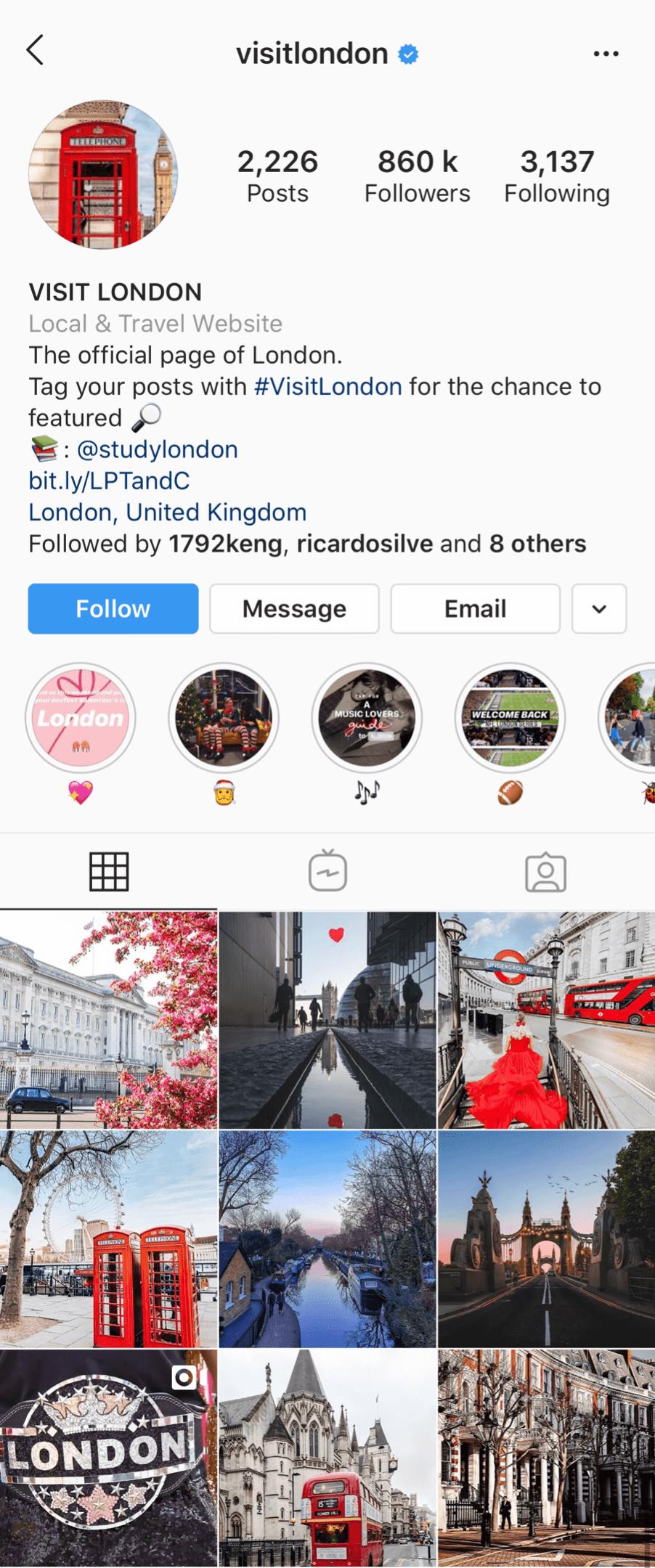 @visitlondon Instagram account