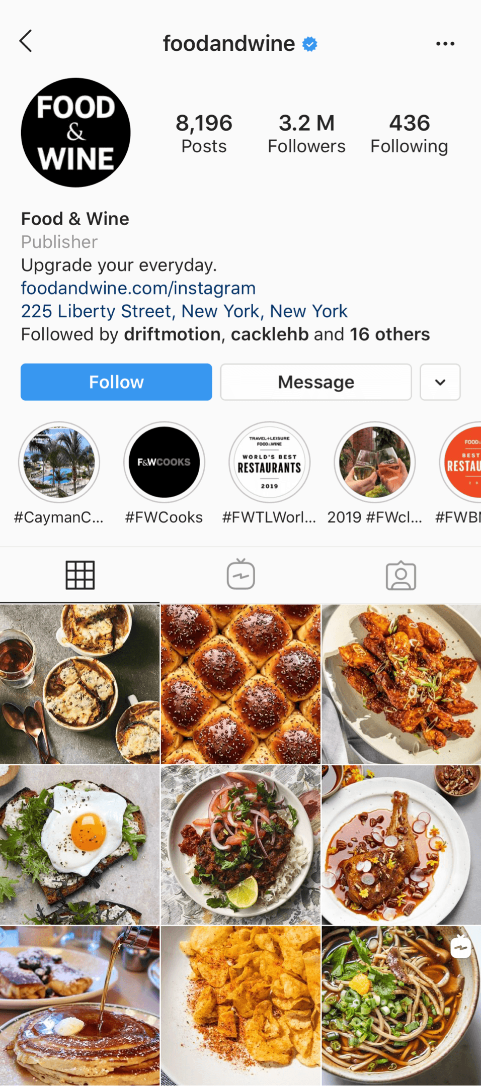 @foodandwine Instagram profile
