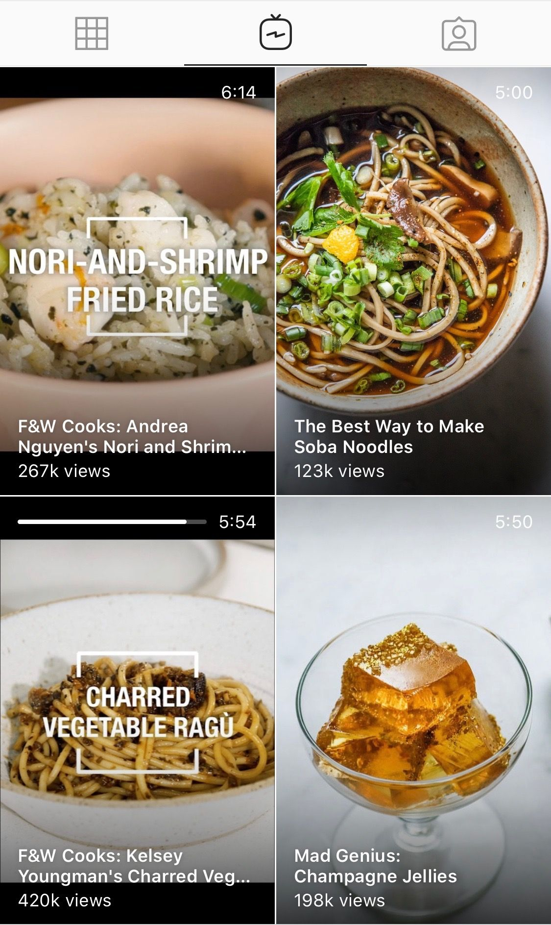 IGTV tab of @foodandwine