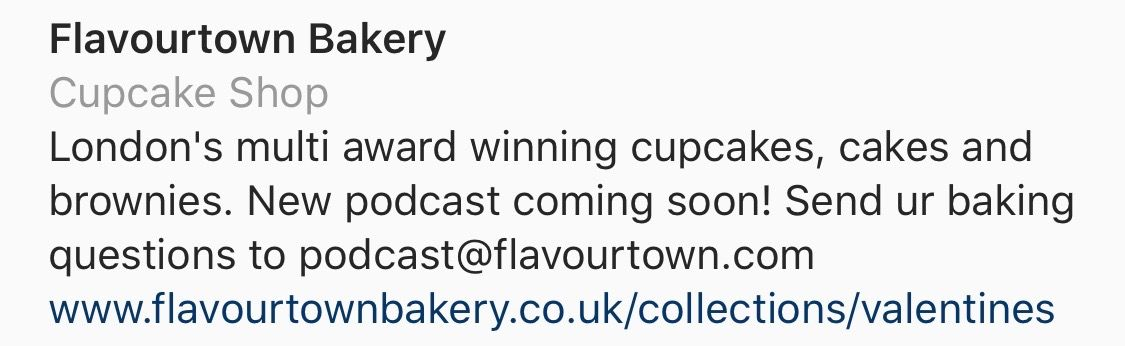 @flavourtownbakery website link in Instagram bio links to relevant seasonal collection