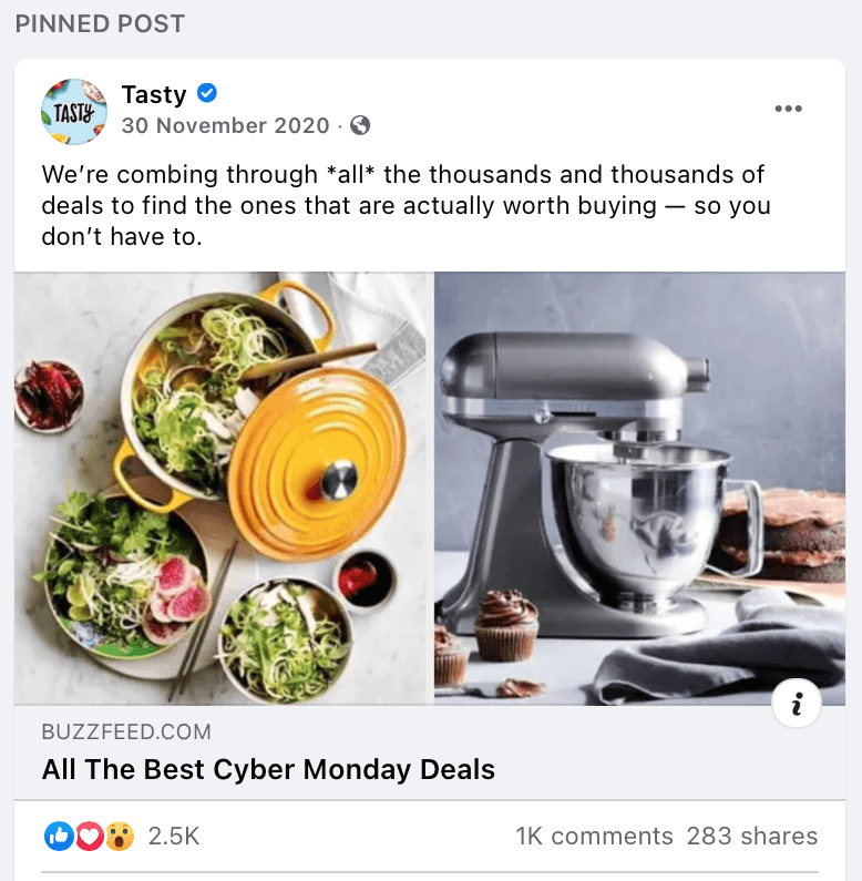Pinned Facebook Post by Tasty to provide more value to the audience