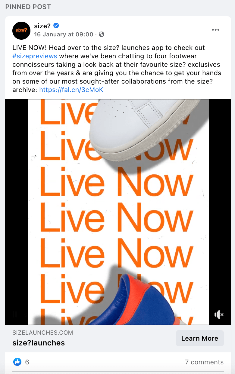 Pinned Facebook Post by size? as an announcement for promoting a product