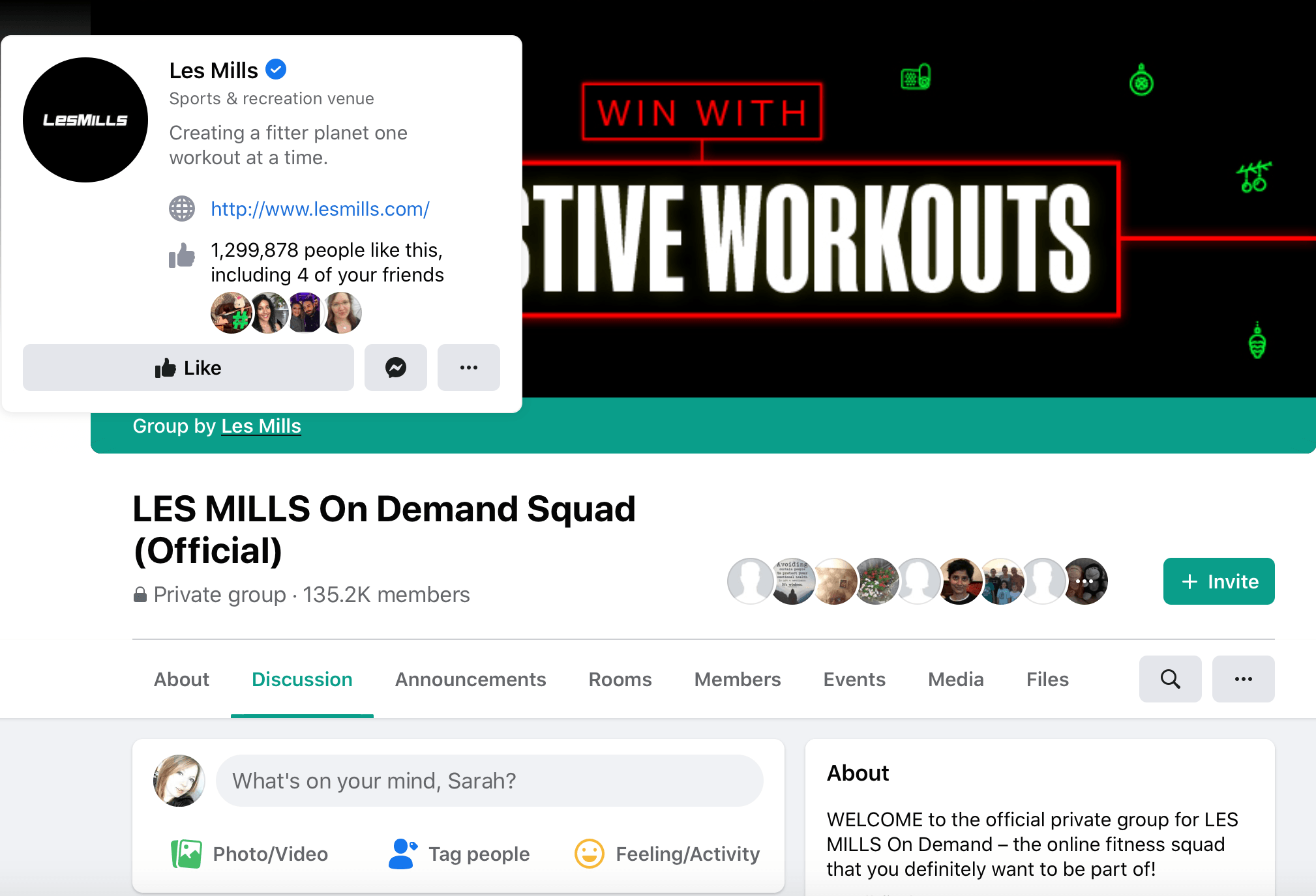 Facebook group created by the Facebook page Les Mills