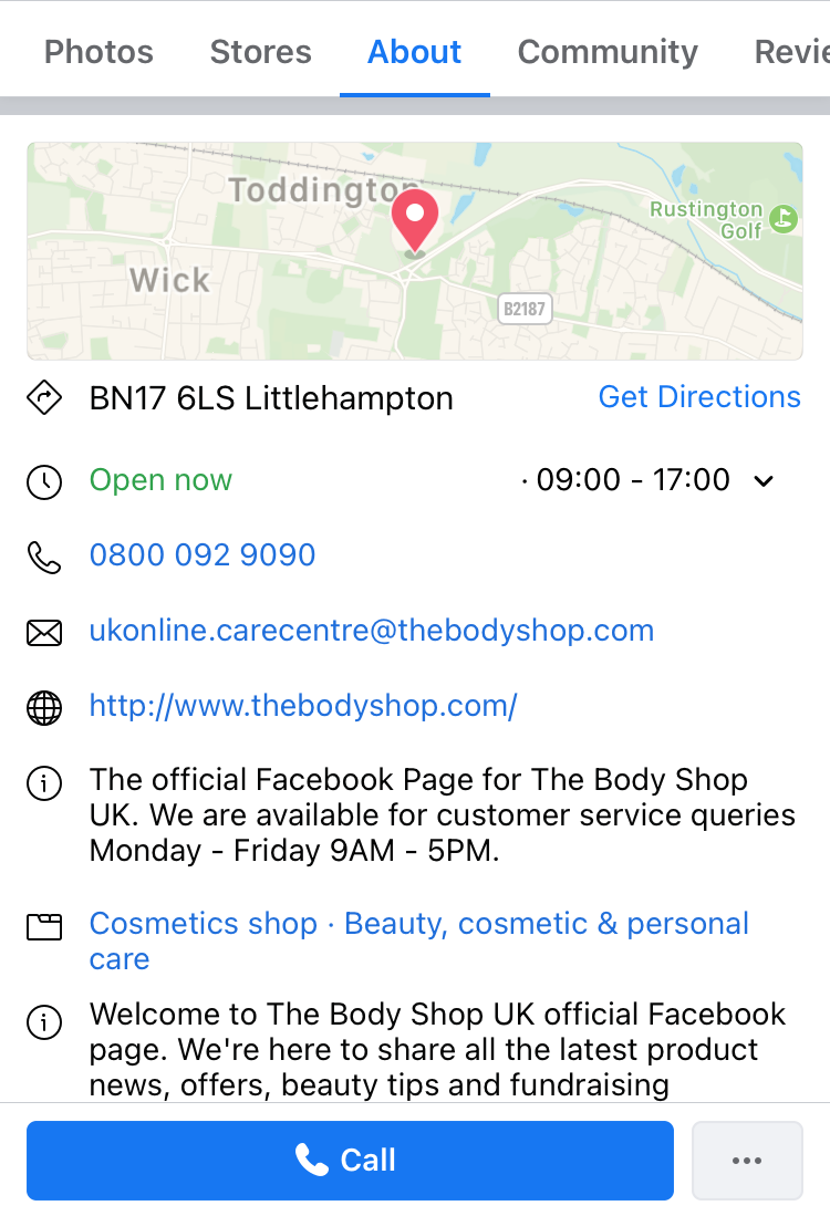 The Body Shop 'About' tab on their Facebook business page