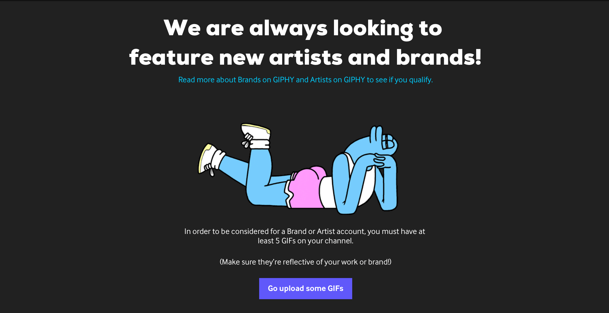 Apply for a brand account on giphy.com