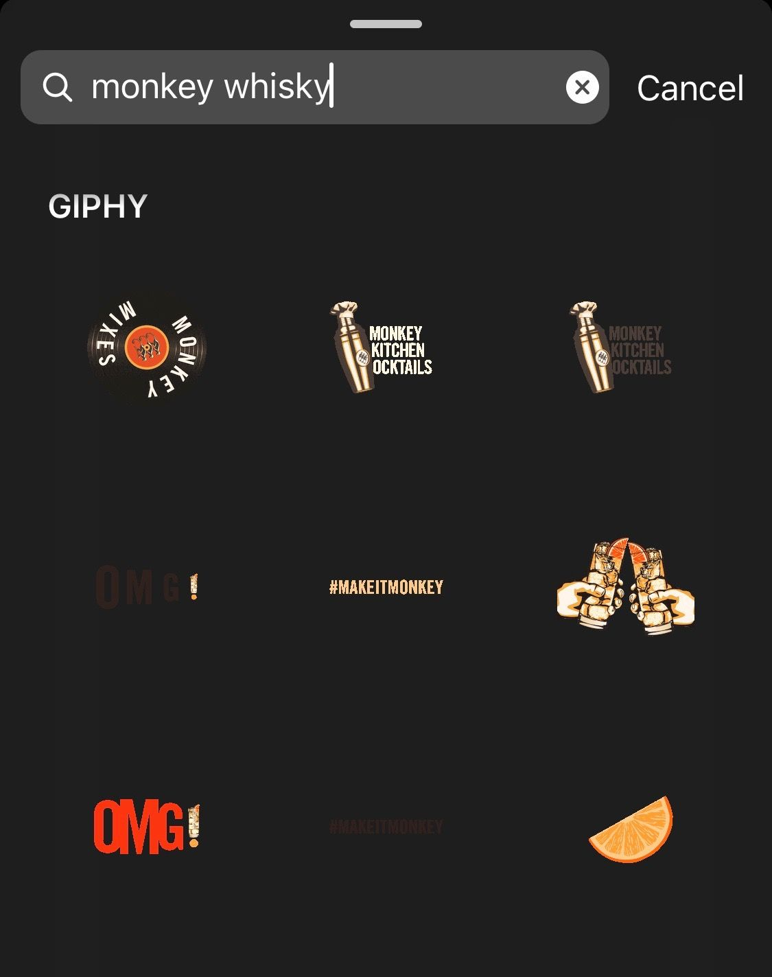 Searchable stickers by @monkeyshoulder