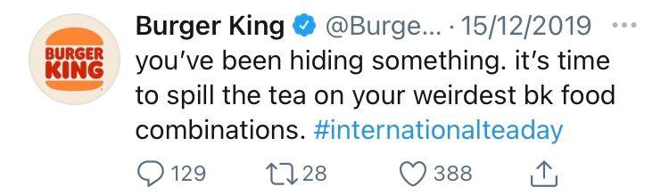tweet by @BurgerKing