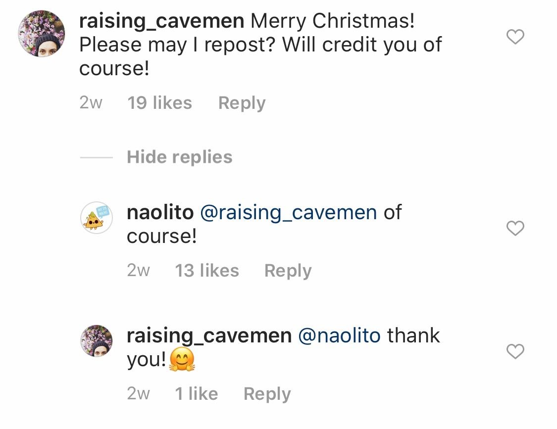 Comments on a @naolito Instagram post
