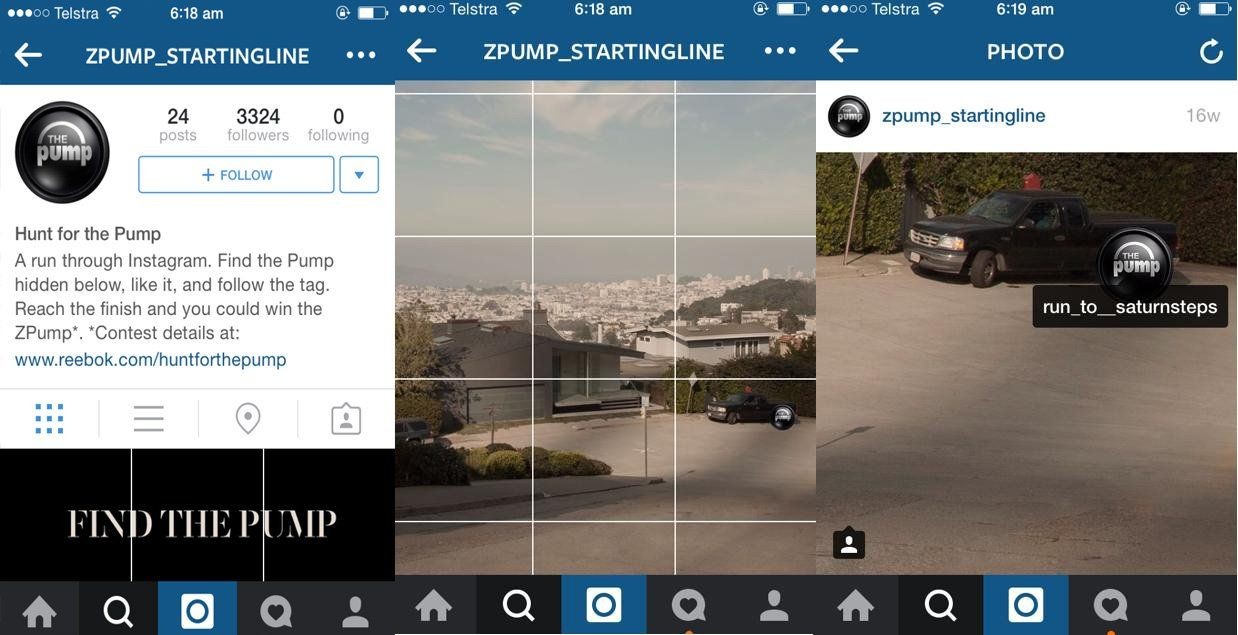 Reekbok's Hunt For The Pump Instagram game - image from SocialMediaToday