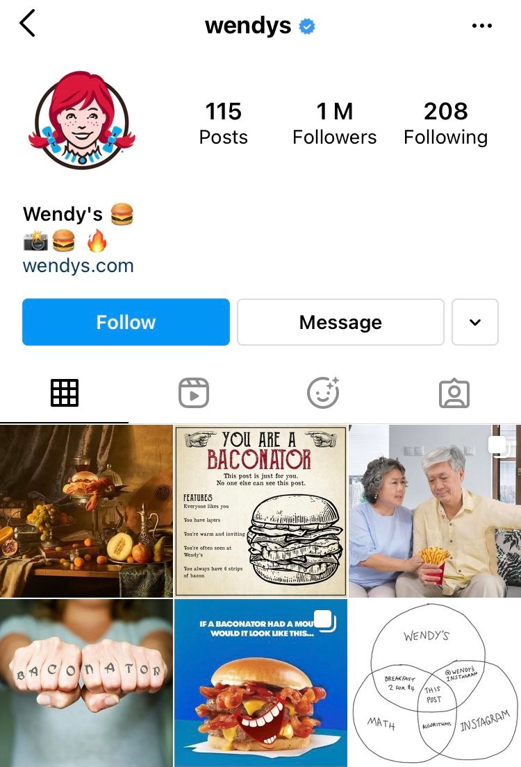 @wendys website link in Instagram bio