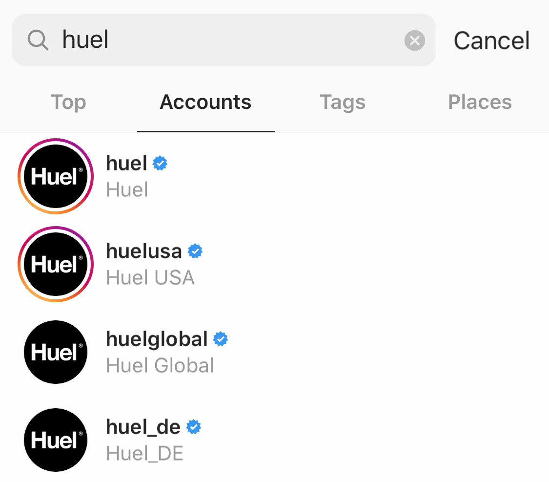 Huel verified Instagram accounts in the Instagram search function