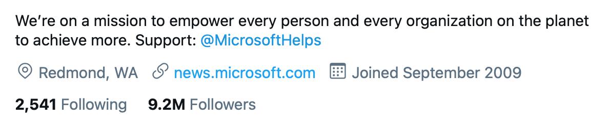 @microsoft Twitter bio