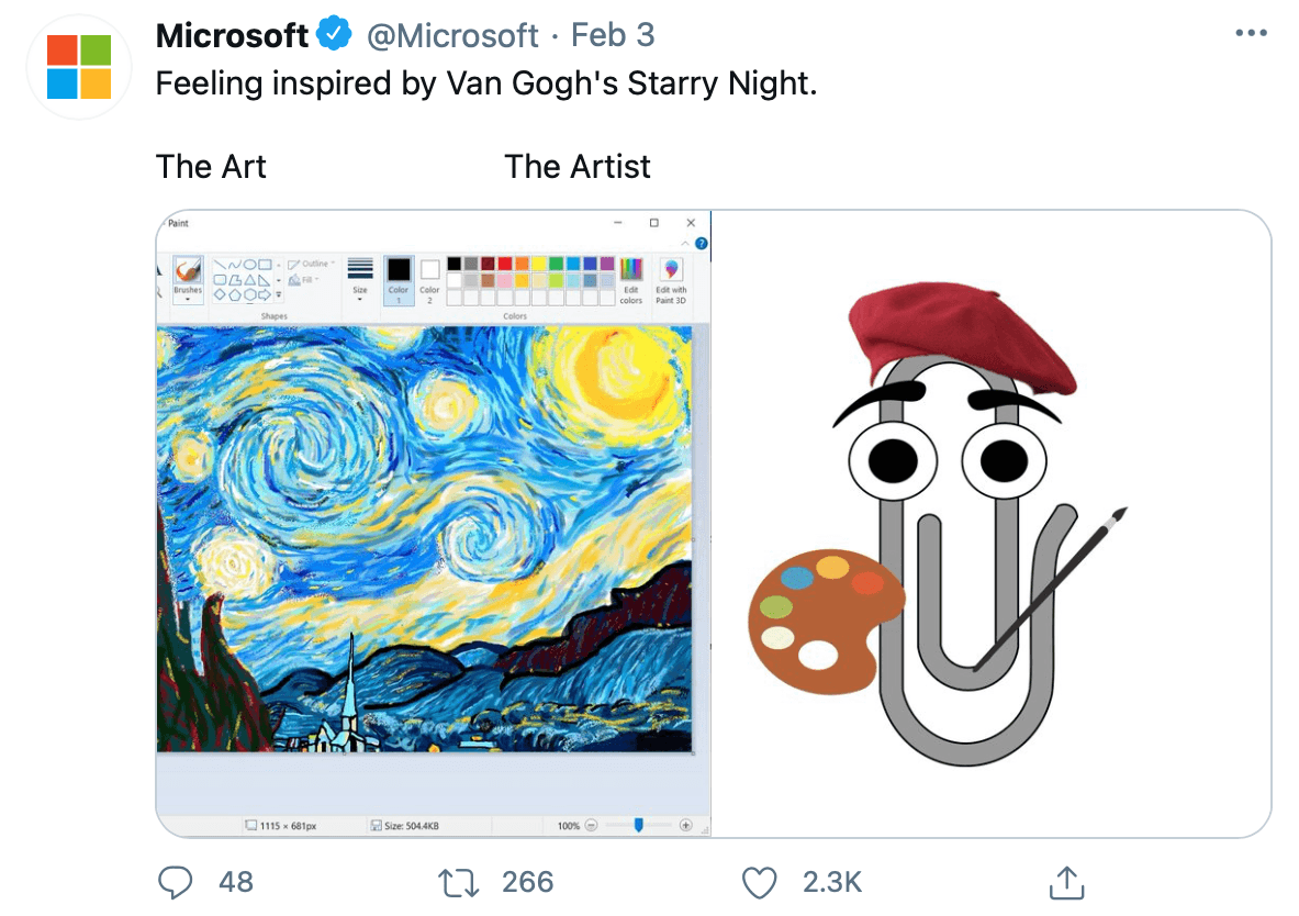 meme culture reflected in Twitter use through this tweet by @microsoft