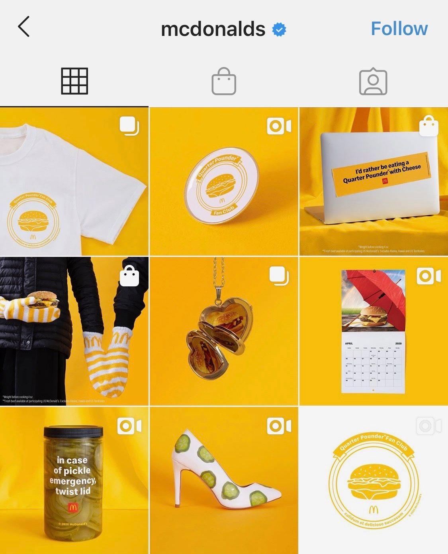 Instagram profile feed of @mcdonalds