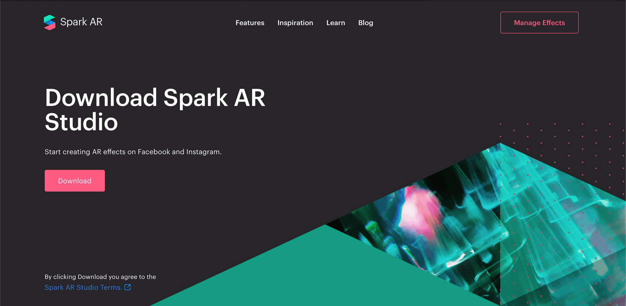 Spark AR Studio website where you can download augmented reality effects for Facebook and Instagram
