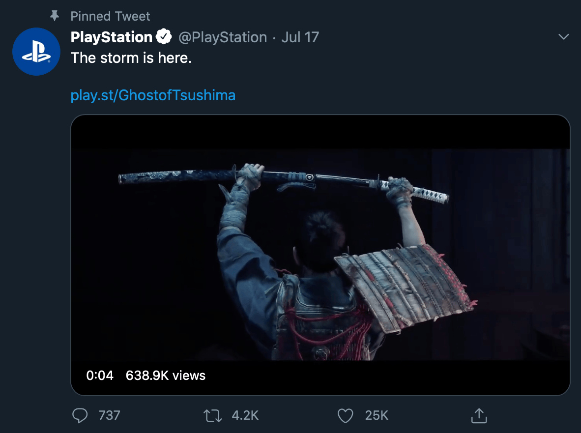 Product-focused tweet by @PlayStation