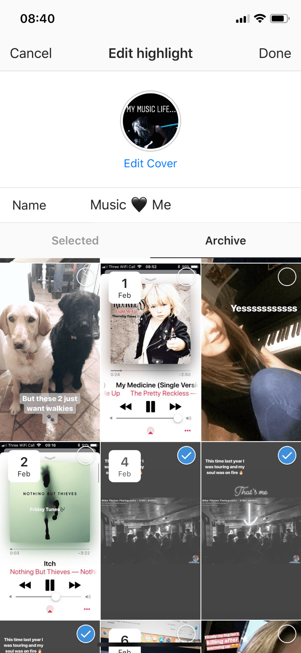 Add images you want to include in your Instagram stories highlight