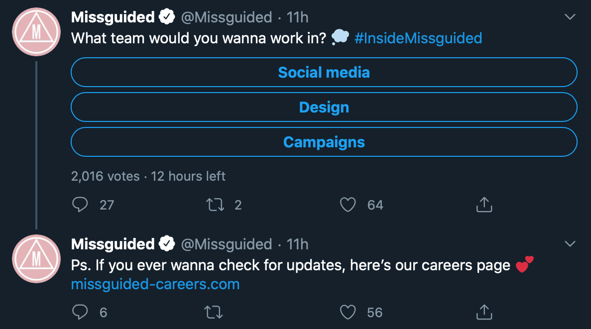 Twitter poll by @Missguided