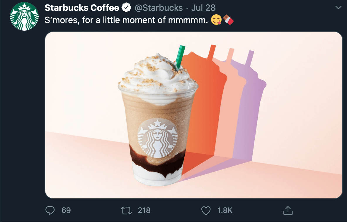 Copy with a pun from @starbucks