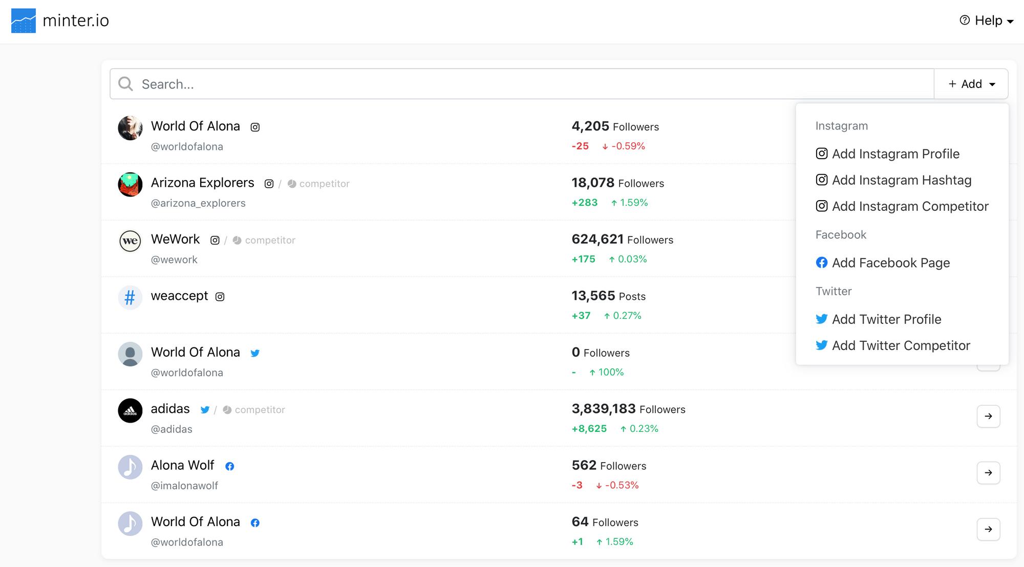 Dashboard on Minter.io analytics tool for social media