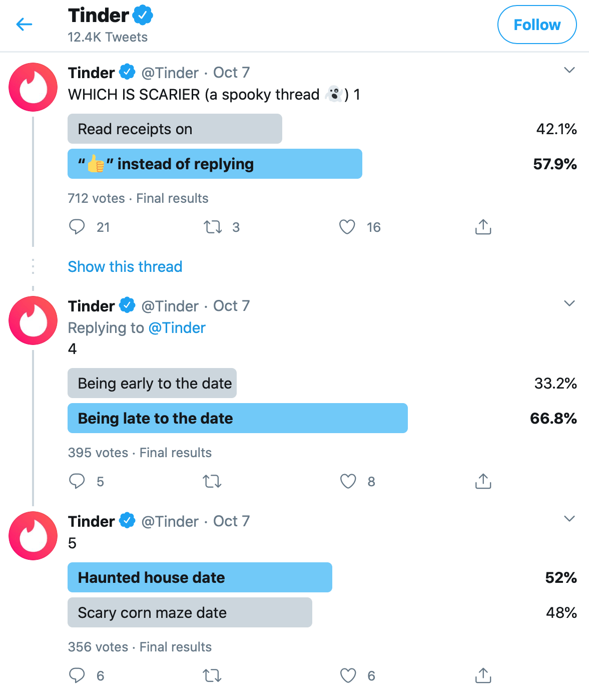 Twitter poll by @Tinder