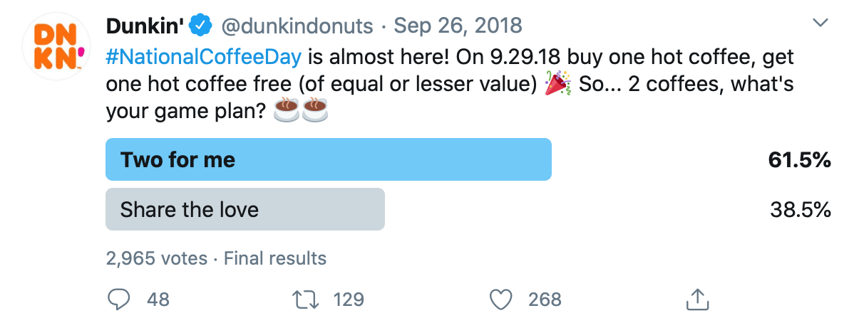 Twitter poll by @dunkindonuts