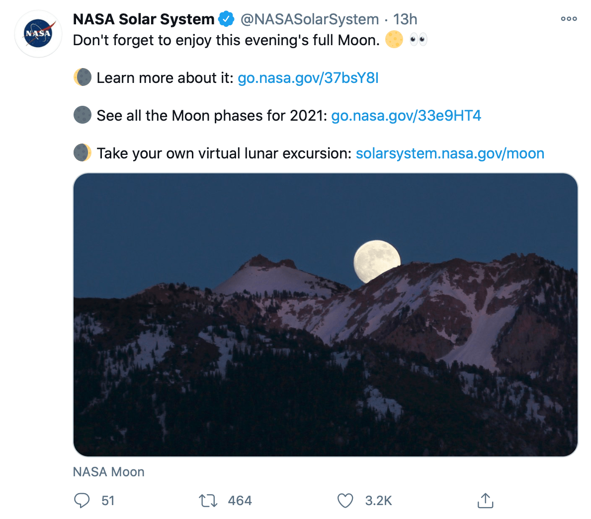 Tweet by @NASASolarSystem providing educational information and multiple links