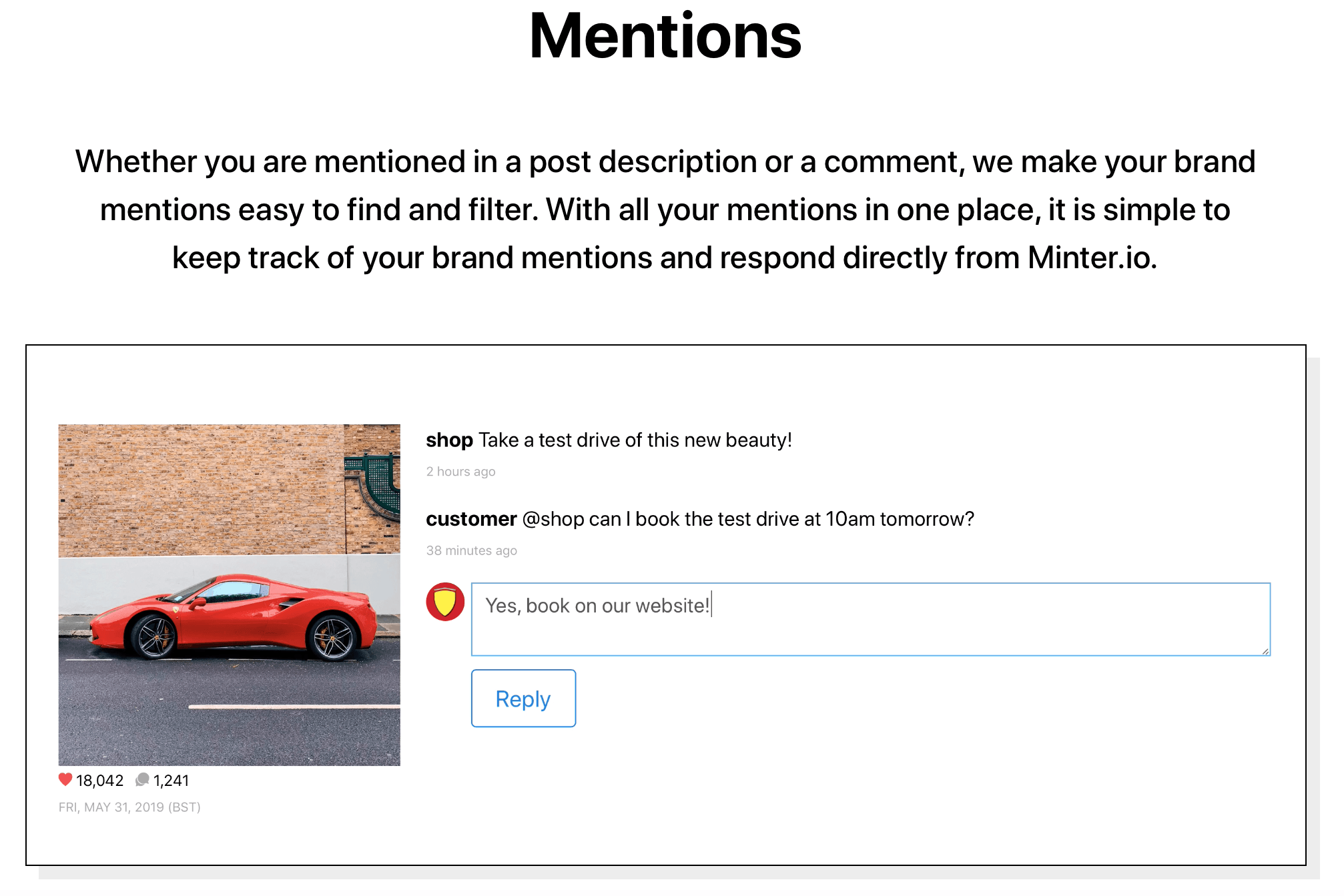 Mentions feature by Minter.io