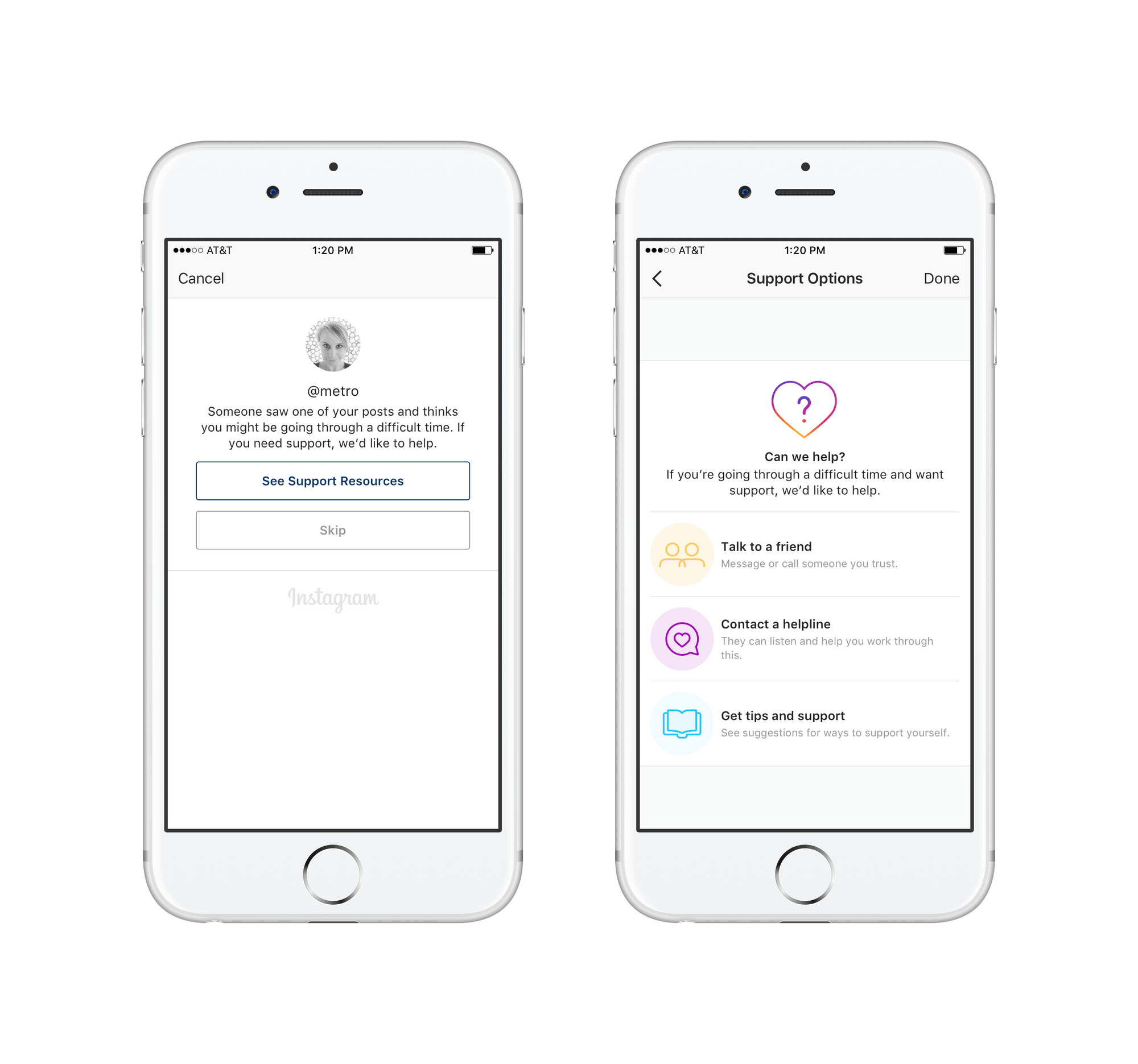 Prompt for mental health resources and support through Instagram