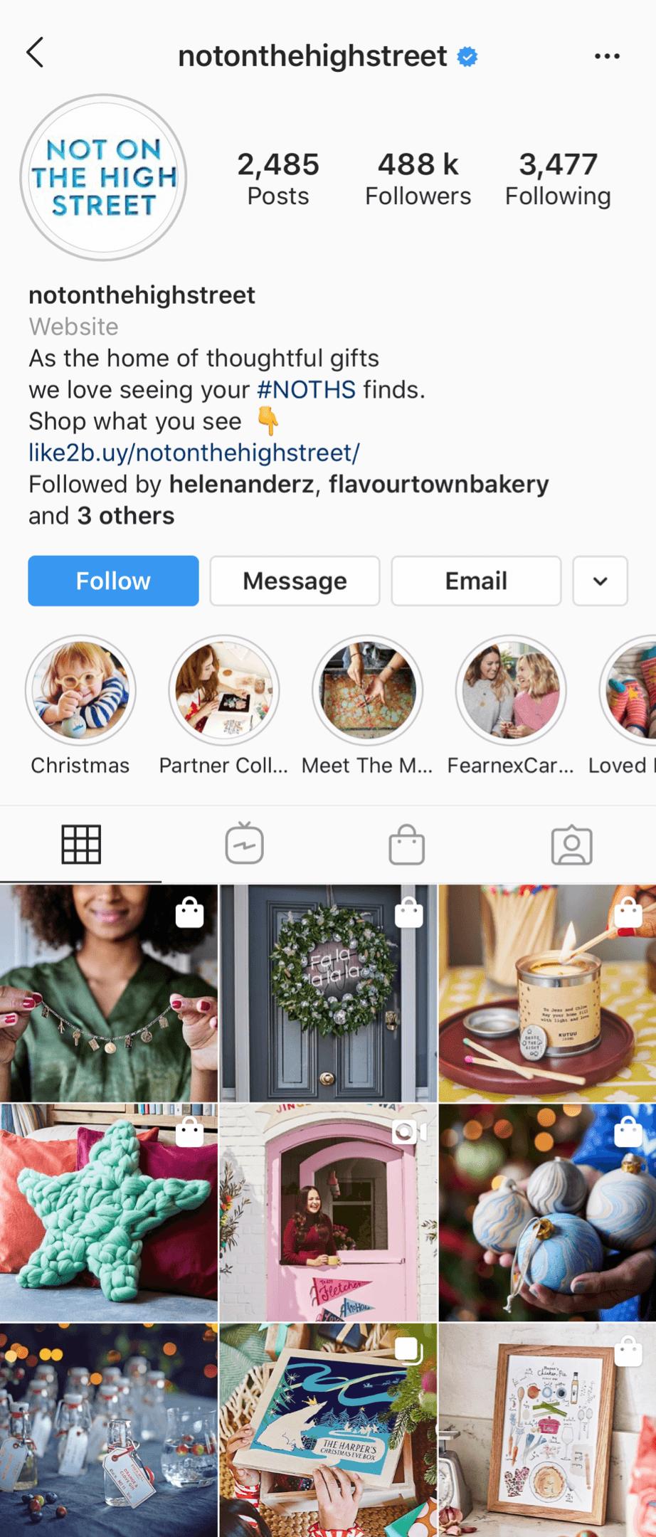 @notonthehighstreet Instagram profile