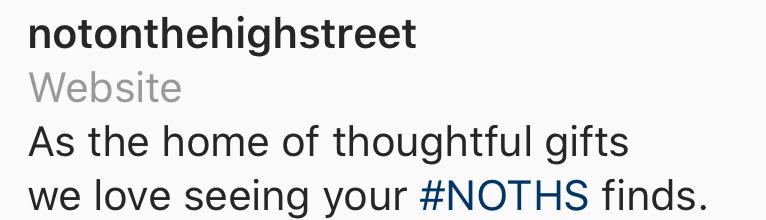 Hashtag #NOTHS in their Instagram bio