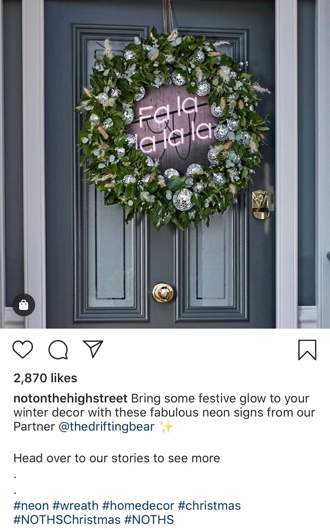@notonthehighstreet Instagram post featuring the hashtag #NOTHSChristmas