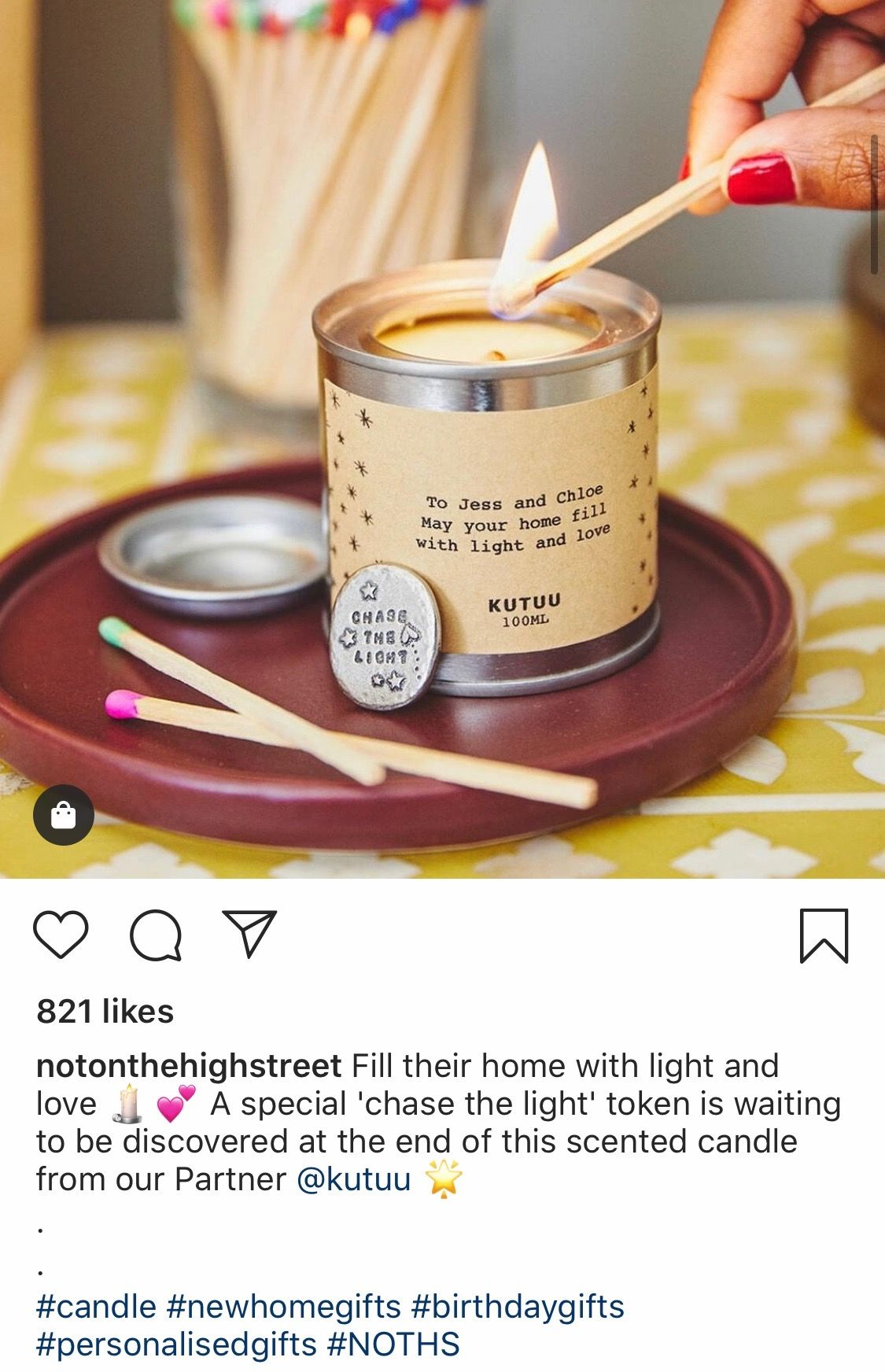 @notonthehighstreet Instagram post featuring the hashtag #NOTHS