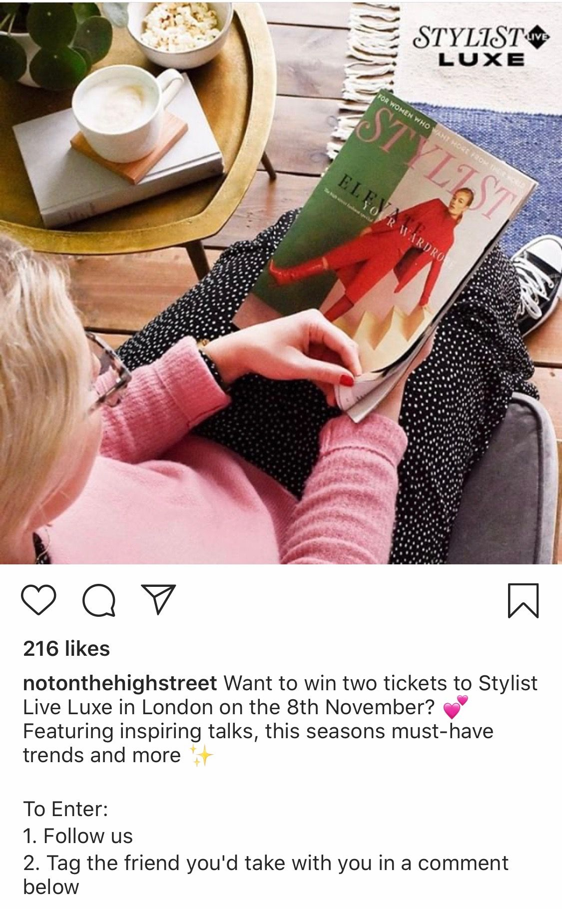 @notonthehighstreet Instagram competition post