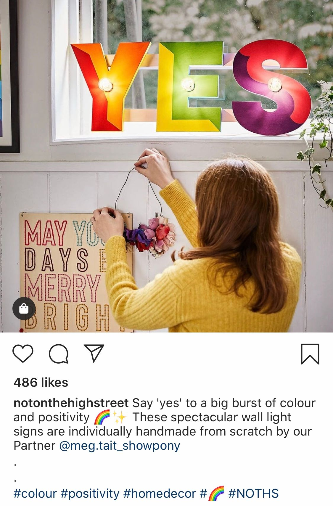 @notonthehighstreet Instagram post featuring collaborative mention