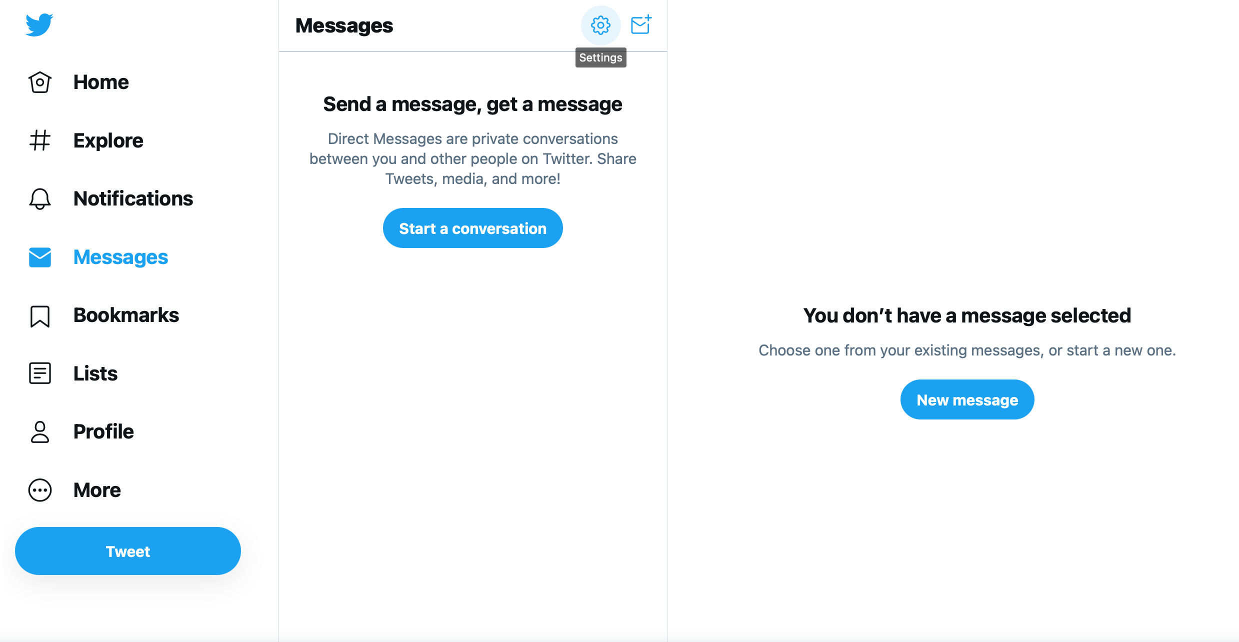 Direct messaging settings for Twitter on desktop