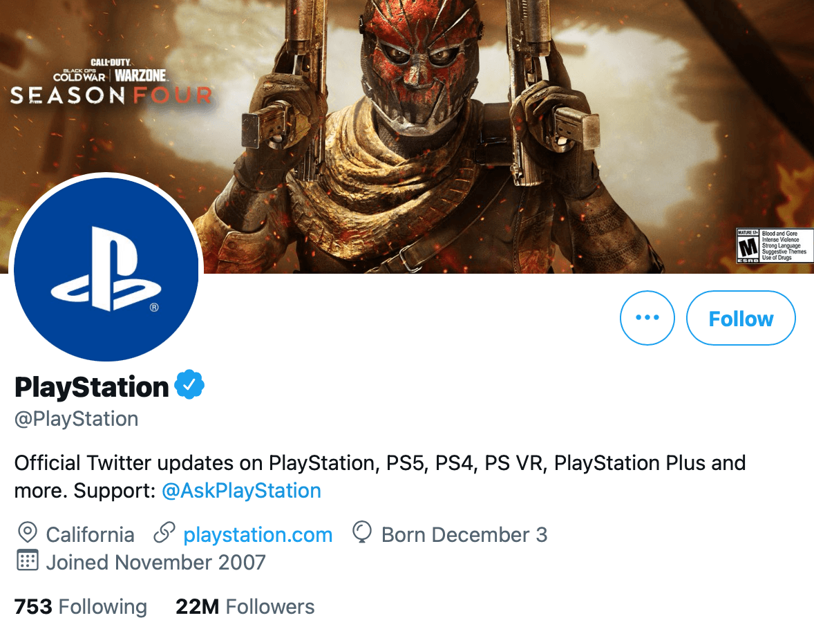 @PlayStation provides a separate Twitter profile for support, located through their bio