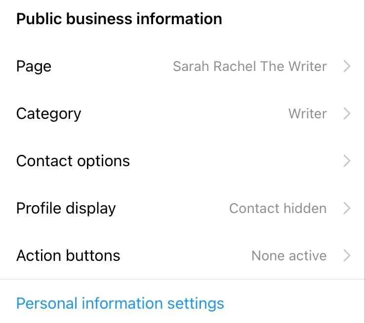 Select 'Contact options' from the 'Public business information' section