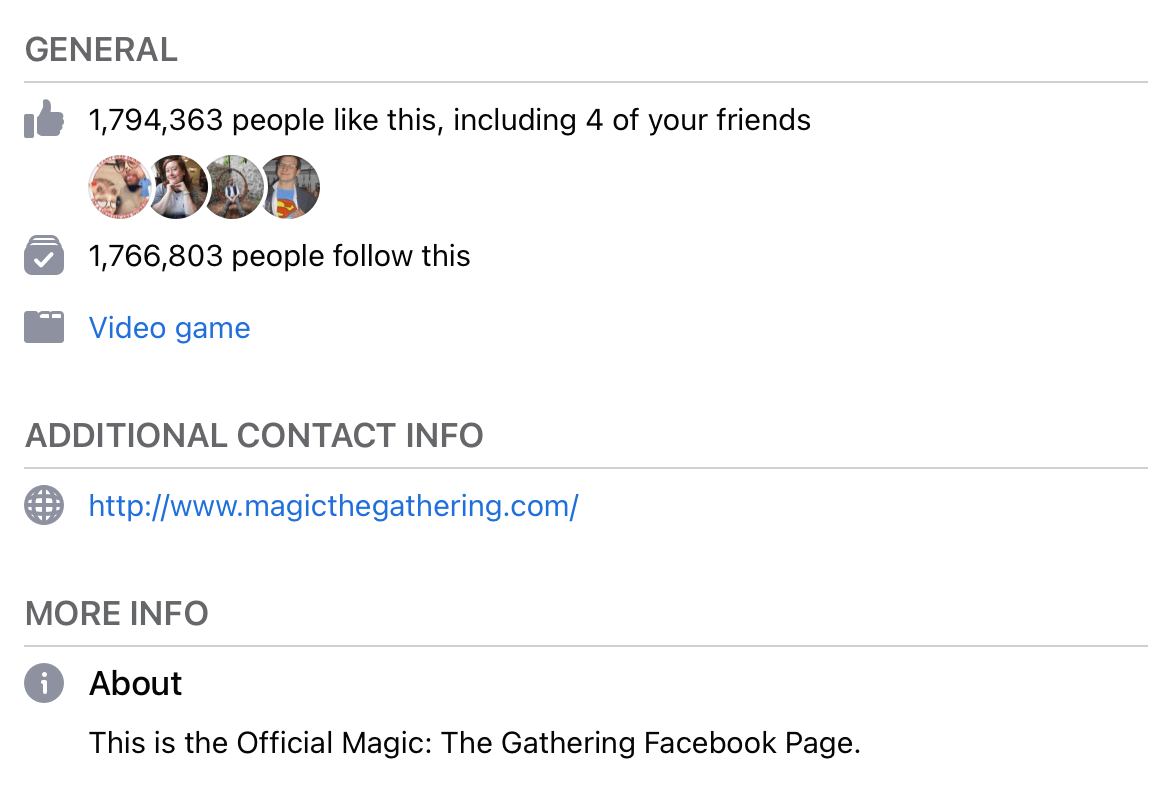 About Page info on the Magic: The Gathering Facebook page