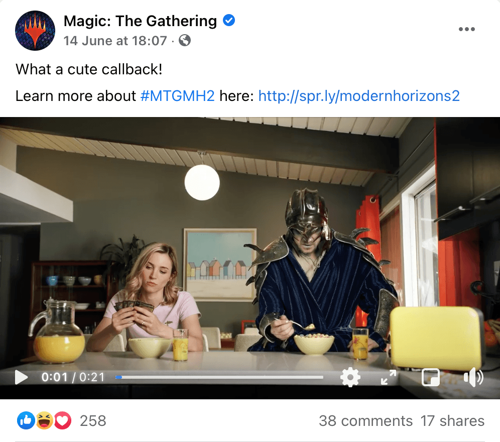Facebook post by Magic: The Gathering including a hashtag, link, CTA and cue to view media