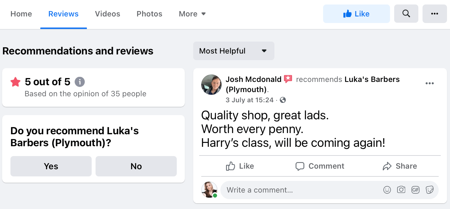 Reviews tab on the Luka's Barbers (Plymouth) Facebook page