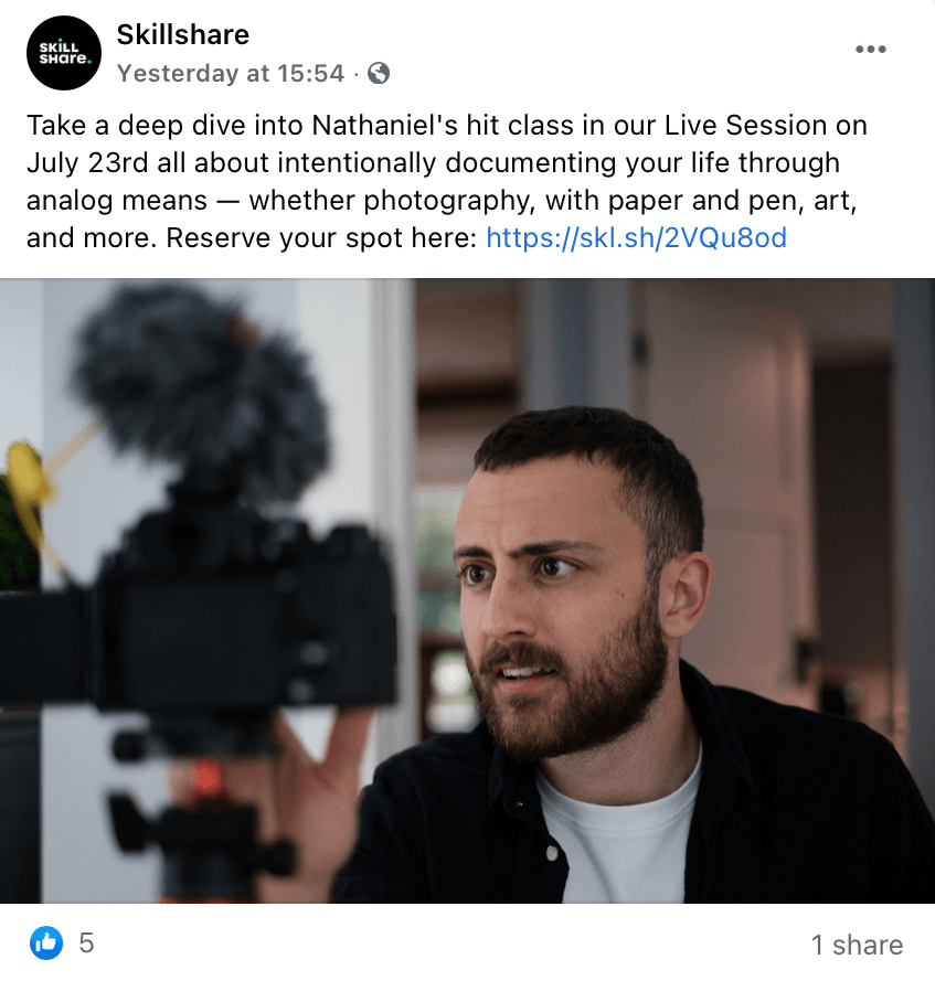 Post on the Skillshare Facebook page featuring YouTuber Nathaniel Drew