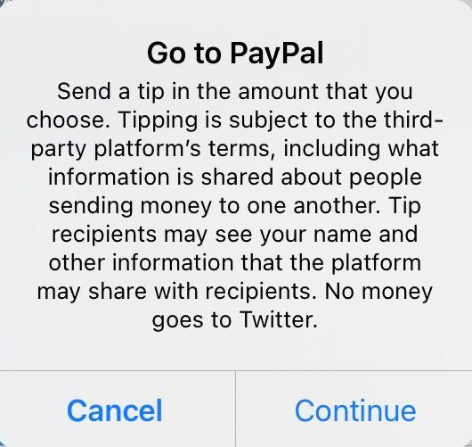 Notice from Twitter when sending money via a tip jar