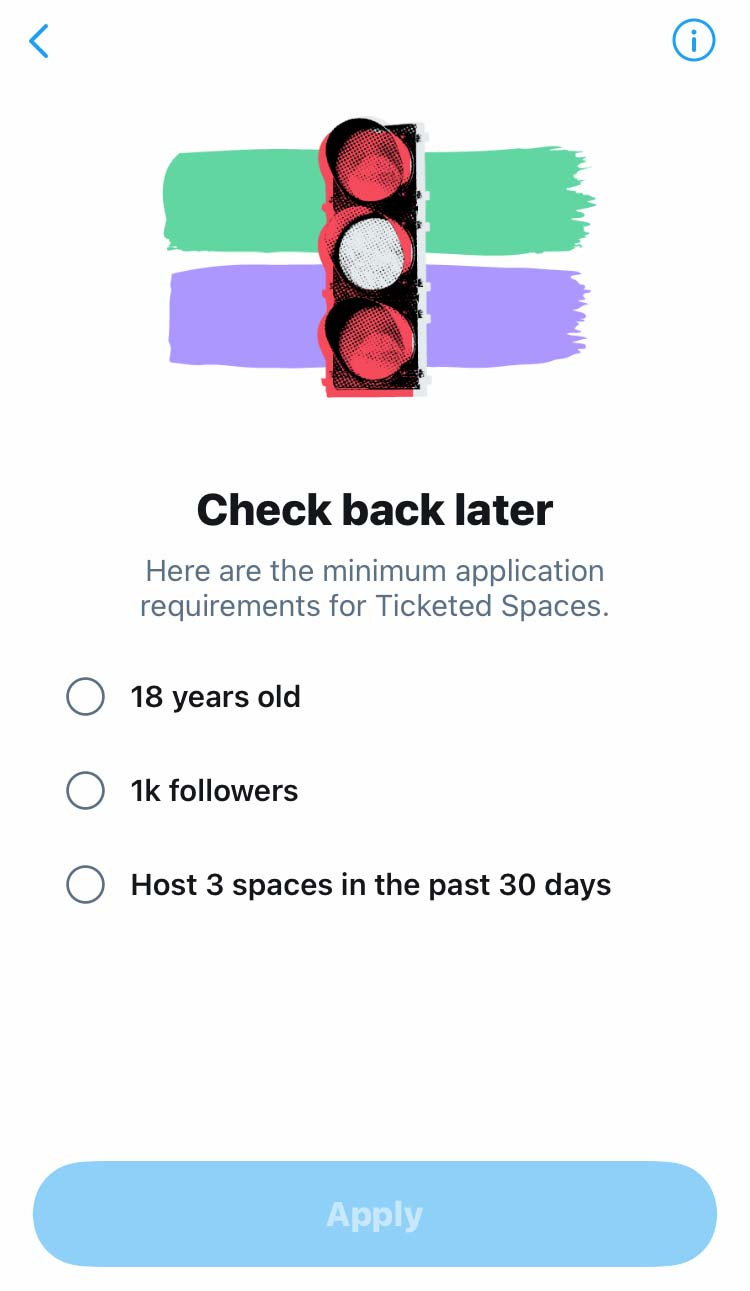 Eligibility factors for applying to host ticketed spaces on Twitter