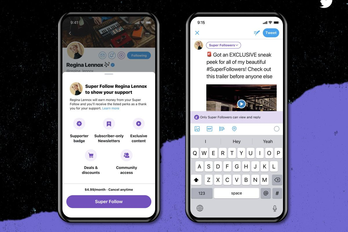 Image by Twitter of how the subscription button will work for monetisation feature super follows